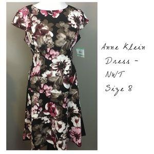 Anne Klein Black Floral Dress, Size 8, NWT
